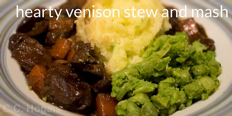 Venison Stew with Champ and Peas