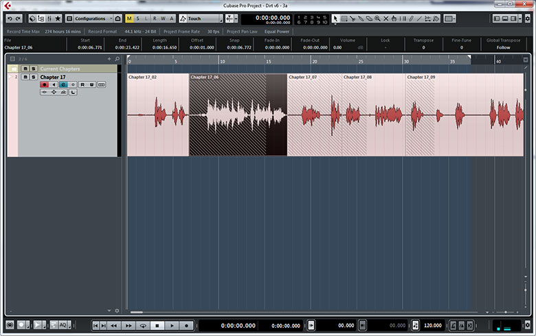 A highlighted block in Cubase